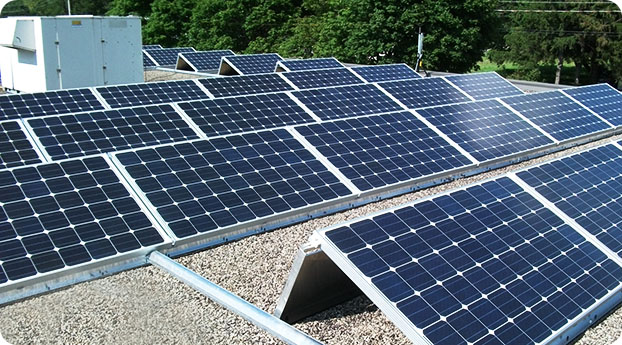 Photo of low ballast solar panels on roof